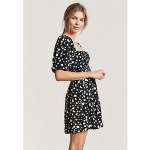 Forever 21 black and white polka dot smocked dress